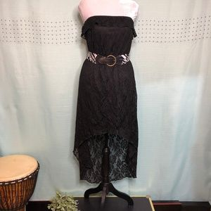 Trixxi strapless high low black lace dress lined